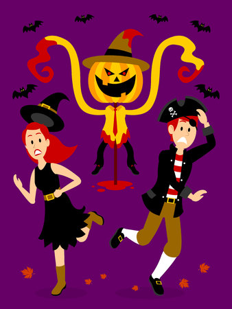Teenage Boy and Girl Scared by A Horror Scarecrow Clipart