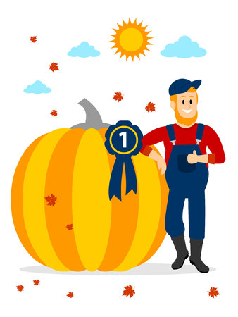 Farmer winning Pumpkin Contest at the First Place Clipart