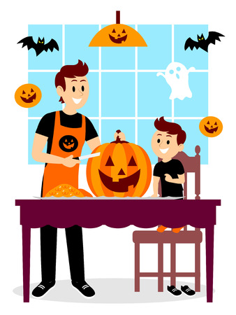 Father and Son Carving A Pumpkin Clipart Illustration