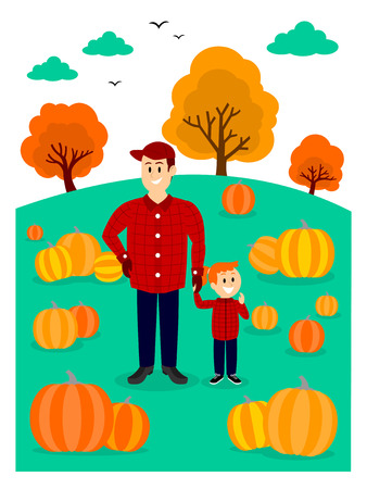 Father and Daughter Picking A Pumpkin Clipart Illustration