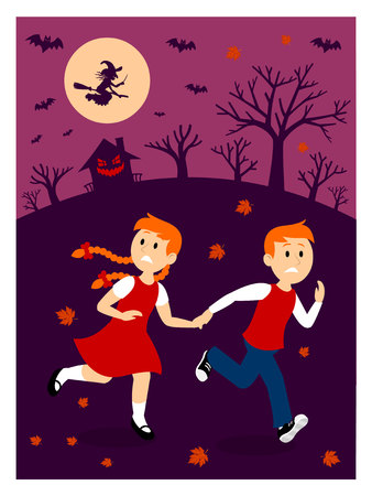 Boy and Girl Escape From A Witch House Clipart 免版税图像 - 57577932