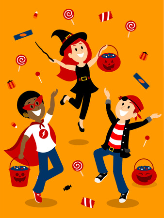 Rain of Candies on the Halloween Night Clipart Çizim