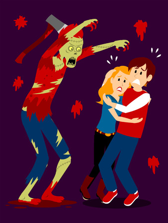 Teenage Boy and Girl Scared by A Scary Zombie Clipart Çizim