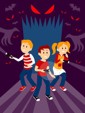 Kids in the Haunted House Clipart