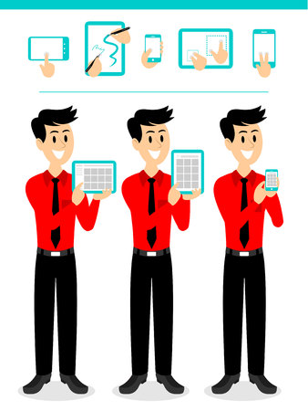 touch: Salesman Demonstrating App Using Touch Screen Devices Illustration