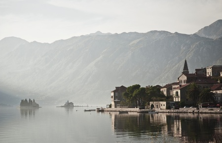 perast village near kotor in montenegro photo