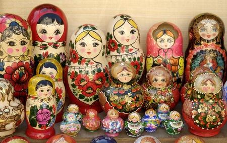 photo of russian matryoshka dolls in a riga latvia street market