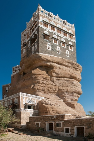 dar al hajar palace in wadi dhahr yemen Stock Photo