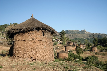 african village: traditional african adobe mud homes in lallibela ethiopia Stock Photo