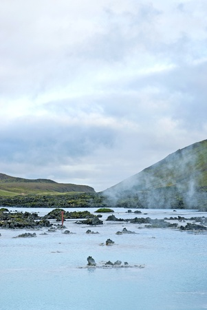 reykjavik: blue lagoon volcanic landscape near reykjavik iceland Stock Photo