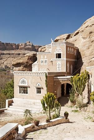 yemen: traditional yemeni house in village near sanaa yemen