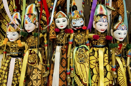 indonesia people: traditional wooden puppets in bali indonesia Stock Photo
