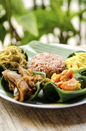 indonesian food in bali, several curries and rice photo
