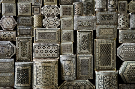 decorated souvenir boxes in cairo egypt souk market photo