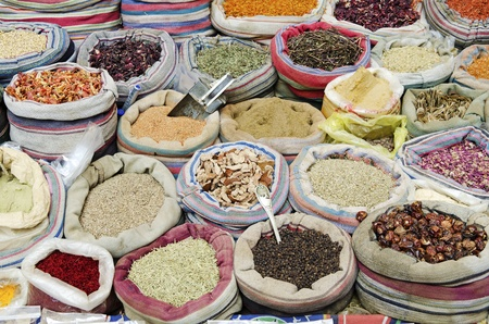 arabian food: spices in middle east market cairo egypt Stock Photo