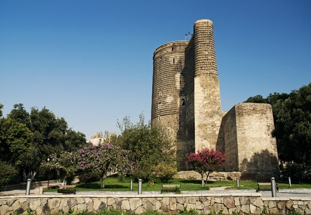 azerbaijan: maidens tower landmark in baku azerbaijan