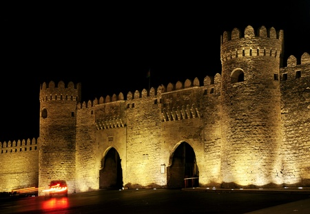 azerbaijan: old town gate in baku azerbaijan by night Stock Photo