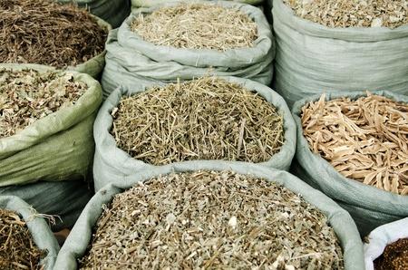 traditional herbs in vietnam market photo