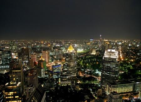 bangkok skyline view by night photo