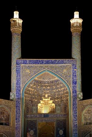 esfahan: mosque at night esfahan iran