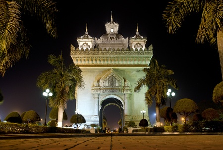 nightime: patuxai arch at night in vientiane, laos