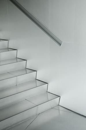metallic stairs: aluminium silver metal architecture detail Stock Photo