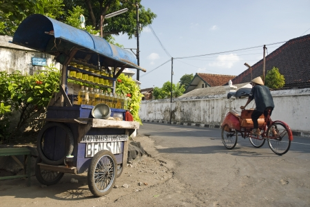 yogyakarta: gasoline vendor in yogyakarta street indonesia
