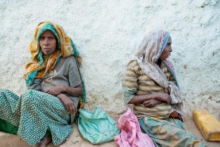 Beggar women in harar ethiopia street