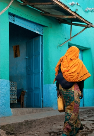 Colorful old town street in harar ethiopia