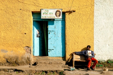 man and barber shop in gondar ethiopia