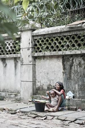 child vendor on yangon myanmar street
