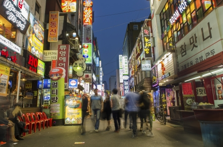 shopping street in central seoul south korea at night