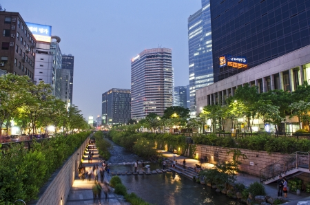 Cheonggyecheon stream in central seoul south korea