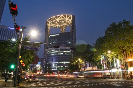 Seoul: street scene in central seoul south korea at night Editorial