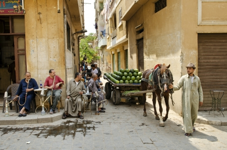 street scene in cairo old town egypt