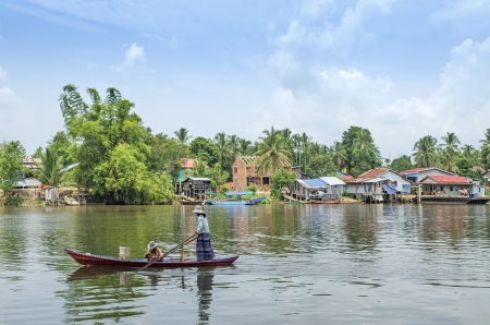 river village scene in rural cambodia