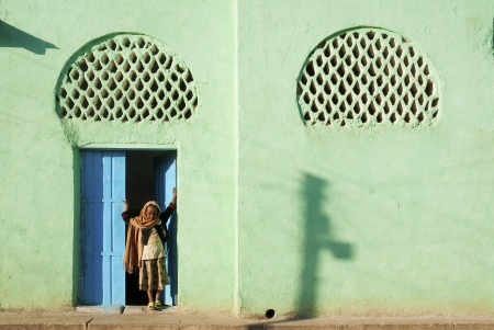 filles musulmanes de mosqu�e � Harar en Ethiopie afrique Banque d'images - 15203647