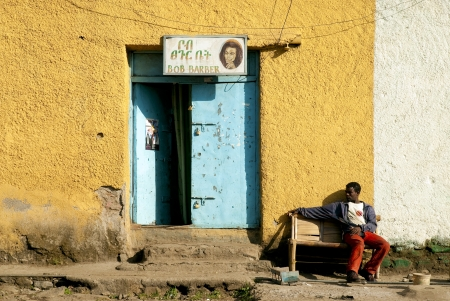 barber shop and man in gondar ethiopia africa