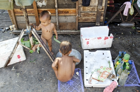 poor children in phnom penh street cambodia Stock Photo - 14541741