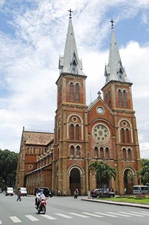 colonial building: notre dame cathedral in ho chi minh vietnam