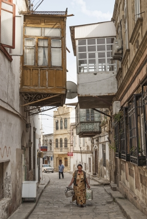 streetscene: architecture in baku azerbaijan old town street
