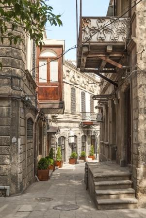 architecture in baku azerbaijan old town street