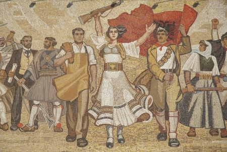 albanian: albanian nationalistic ceramic mural in skanderberg square tirana albania