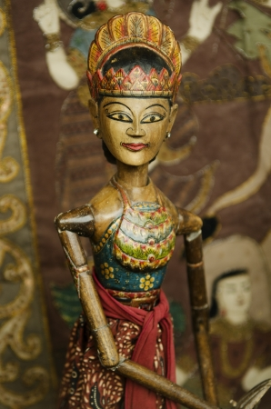 traditional wooden puppet in bali indonesia photo