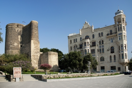 baku: central baku azerbaijan with maidens tower landmark