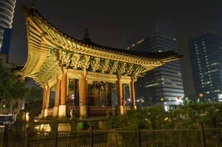 temple in central seoul south korea at night photo
