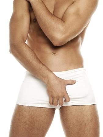 photo of man in white underwear Stock Photo