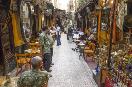 cairo old town in egypt souk cafe Editorial
