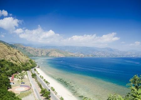 cristo: cristo rei beach near dili in east timor