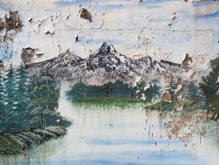 decayed: decayed painting of mountain scene